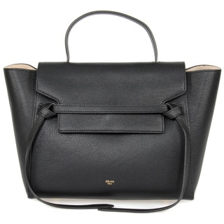 Celine Belt Medium Black Grained Leather Shoulder Handbag