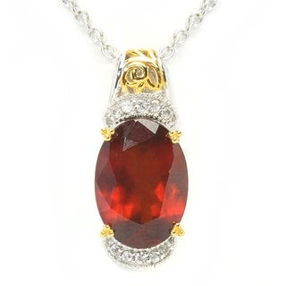 Michael Valitutti Palladium Silver Oval Hessonite & White Zircon Pendant
