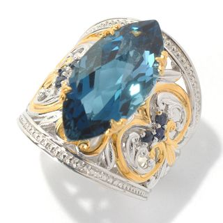 Michael Valitutti Palladium Silver Marquise Shaped London Blue Topaz and Blue Sapphire Wide Band Ring