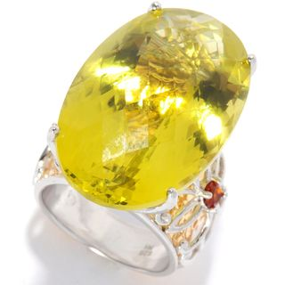 Michael Valitutti Palladium Silver Oval Ouro Verde & Madeira Citrine Hammered Ring