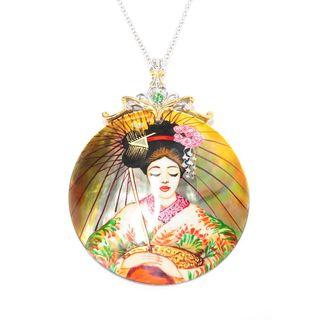 Michael Valitutti Palladium Silver Hand-Painted Mother-of-Pearl Geisha Shell and Tsavorite Pendant