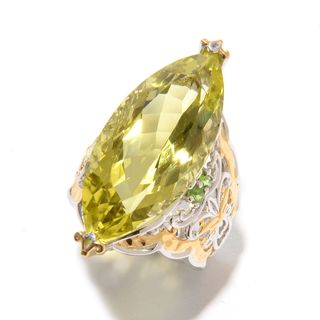 Michael Valitutti Palladium Silver Marquise Shaped Ouro Verde & Chrome Diopside Scrollwork Ring