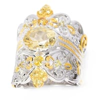 Michael Valitutti Palladium Silver Oval Canary Beryl & Yellow Sapphire Wide Band Ring