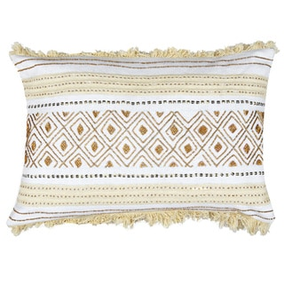 Evelyn White and Cream Cotton Throw Pillow