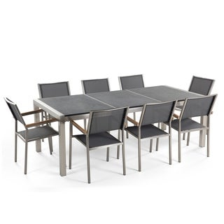 Outdoor Dining Set for 8 - Black Granite Table Top - Grey Chairs - GROSSETO