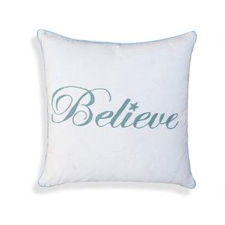 Nerita 'Believe' White Cotton 18-inch x 18-inch Pillow