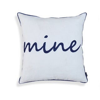 Norma Blue and White Cotton18-inch x 18-inch Mine Pillow