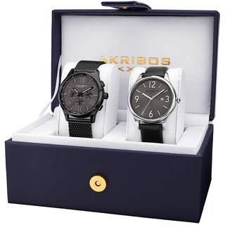 Akribos XXIV Men's Quartz Multifunction Date Black Bracelet Strap Watch Set