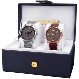 Akribos XXIV Men's Quartz Multifunction Date Rose-Tone/ Silver-Tone Bracelet Strap Watch Set