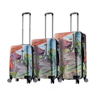 Mia Viaggi Italy Eiffel Tower 3-piece Hardside Spinner Luggage Set