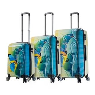 Mia Viaggi Italy Butterfly 3-piece Hardside Spinner Luggage Set