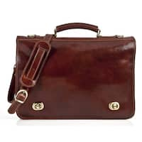 Alberto Bellucci Milano Italian Leather Nevio Large Double Compartment 16-inch Laptop Messenger Bag