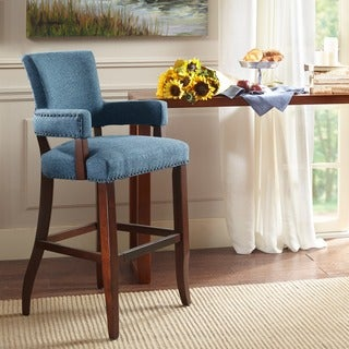 Madison Park Parler Blue Arm 30-inch Bar Stool