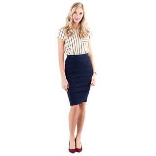 Downeast Basics Women's Blue Nylon and Rayon Pencil Skirt