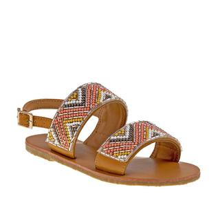 Nanette Lepore Girls' White/Tan Synthetic Sandals