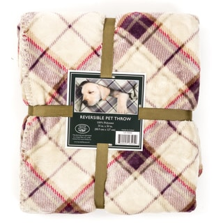 Laura Ashley Reversible Micro Fur Pet Dog Bed Blanket Throw
