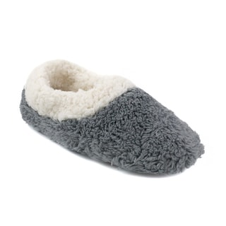 Olivia Miller Rosalie Grey/Pink Faux Fur Scuff Slippers