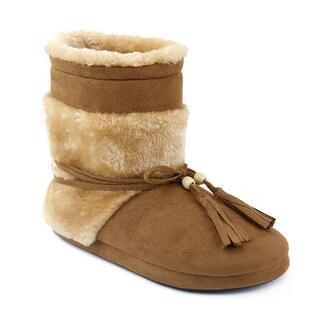 Olivia Miller Etenia Tan Faux Fur Dual Tassel Slipper Booties