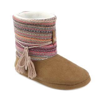 Olivia Miller Women's 'Bena' Multicolor Knit Slipper Booties