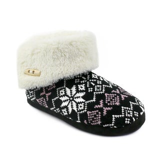 Olivia Miller Women's 'Freya' Snowflake Knit Slipper Booties