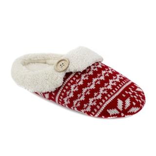 Olivia Miller 'Rain' Fair Isle Knit Scuff Slippers