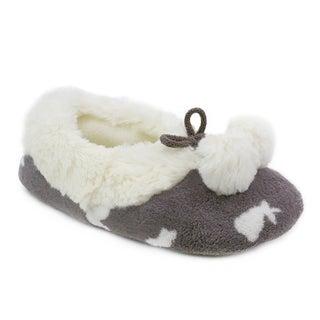 Olivia Miller 'Calla' Pom Pom Bunny Grey Faux Fur Slippers