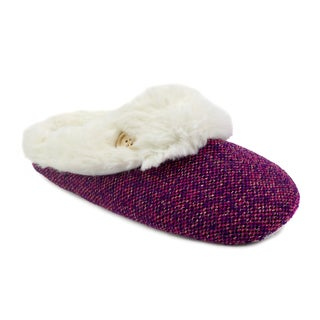 Olivia Miller 'Isla' Pink Sparkle Tweed Scuff Slippers