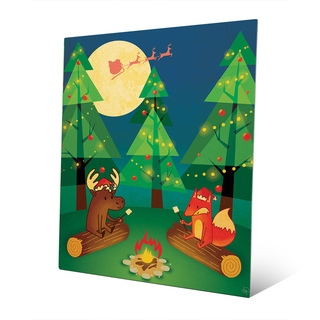 Camping Out for Santa Claus Wall Art on Metal