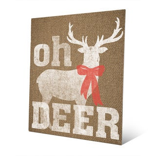 Oh Deer with Bow on Burlap Wall Art on Metal