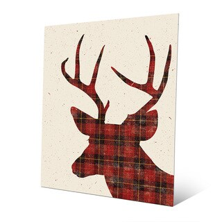 Plaid Deer Christmas Silhouette Wall Art on Metal
