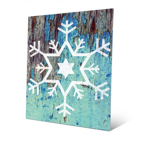 Star of David Snowflake in Blue Wall Art on Metal