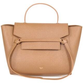 Celine Belt Medium Brown Grain Leather Tote Bag