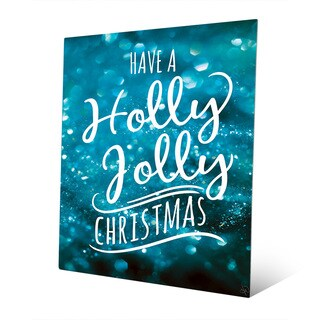 Holly Jolly Christmas in Blue Wall Art on Metal