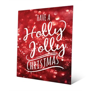Holly Jolly Christmas in Red Snow Wall Art on Metal
