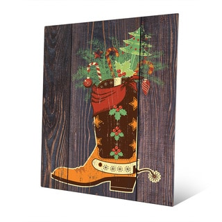 Cowboy Boot Stocking Stuffer Wall Art on Metal