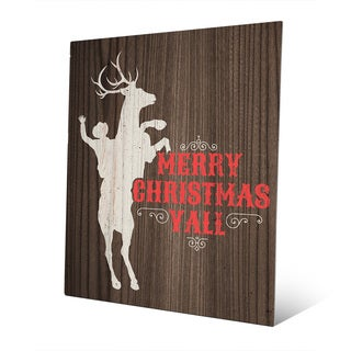 Ride 'Em Rudolph Christmas Yall Wall Art on Metal