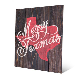 Merry Texmas in Red on Wood Wall Art on Metal