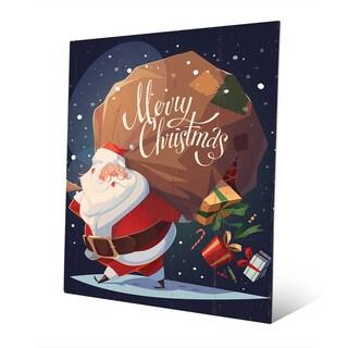 Merry Christmas Santa with Gifts Wall Art on Metal