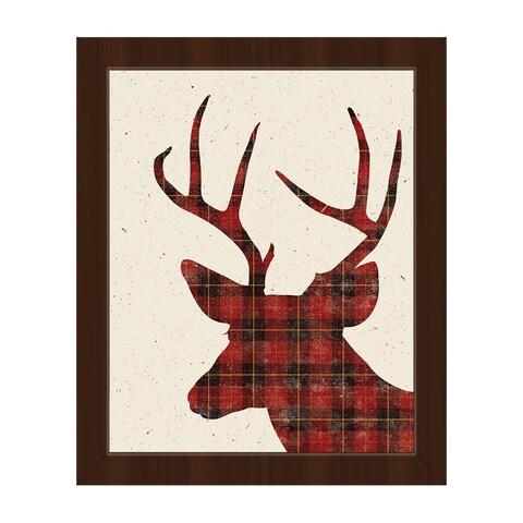 Plaid Deer Christmas Framed Canvas Wall Art