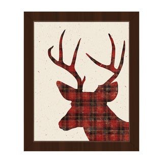 Plaid Deer Christmas Framed Canvas Wall Art (More options available)