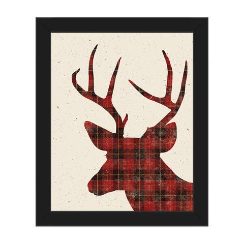Plaid Deer Christmas Framed Canvas Wall Art