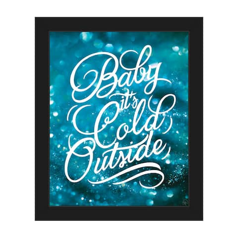 Baby It's Cold Outside Blue Framed Canvas Wall Art