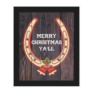 Merry Christmas Horseshoe Framed Canvas Wall Art