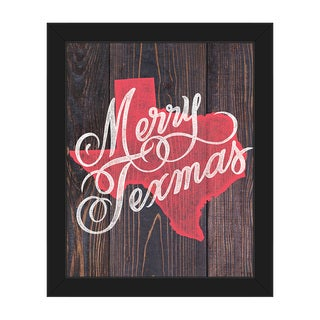 Merry Texmas in Red on Wood Framed Canvas Wall Art