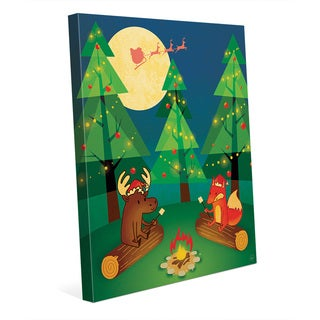 Camping Out for Santa Claus Wall Art on Canvas