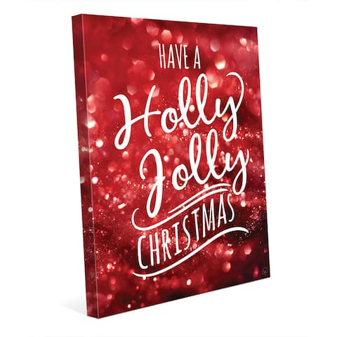 Holly Jolly Christmas in Red Wall Art on Canvas