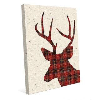 Plaid Deer Christmas Silhouette Wall Art on Canvas