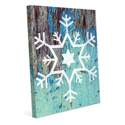 Star of David Snowflake in Blue Wall Art on Canvas
