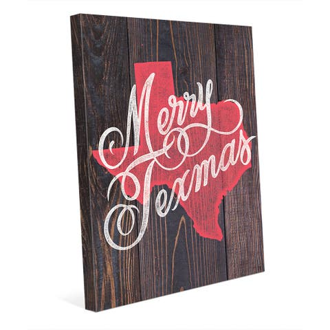 Merry Texmas in Red on Wood Wall Art on Canvas