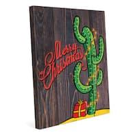 Cactus Christmas Tree Wall Art on Canvas